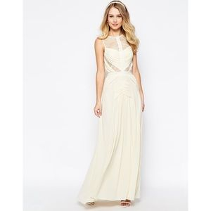 Jarlo Delilah Maxi Dress W Ruched Bodice & Lace